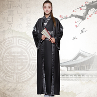 new 2017 hanfu male tang suit Ancient scholar chivalrous valiant warrior for women and men black