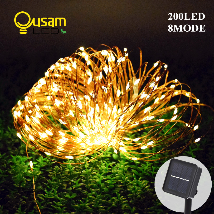 Solar Powered String Lights 20M 200LED 8Modes Copper Wire Outdoor Fairy Light for Christmas Garden Home Holiday Decoration