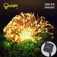 Zonne-energie Lichtslingers 20 M 200LED 8 Modi Koperdraad Outdoor Fairy Licht voor Kerst Tuin Thuis Vakantie Decoratie
