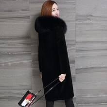Brieuces New Winter Coat Women Faux Fox Fur Plus Size Stand Collar Long Sleeve Jacket gilet fourrure