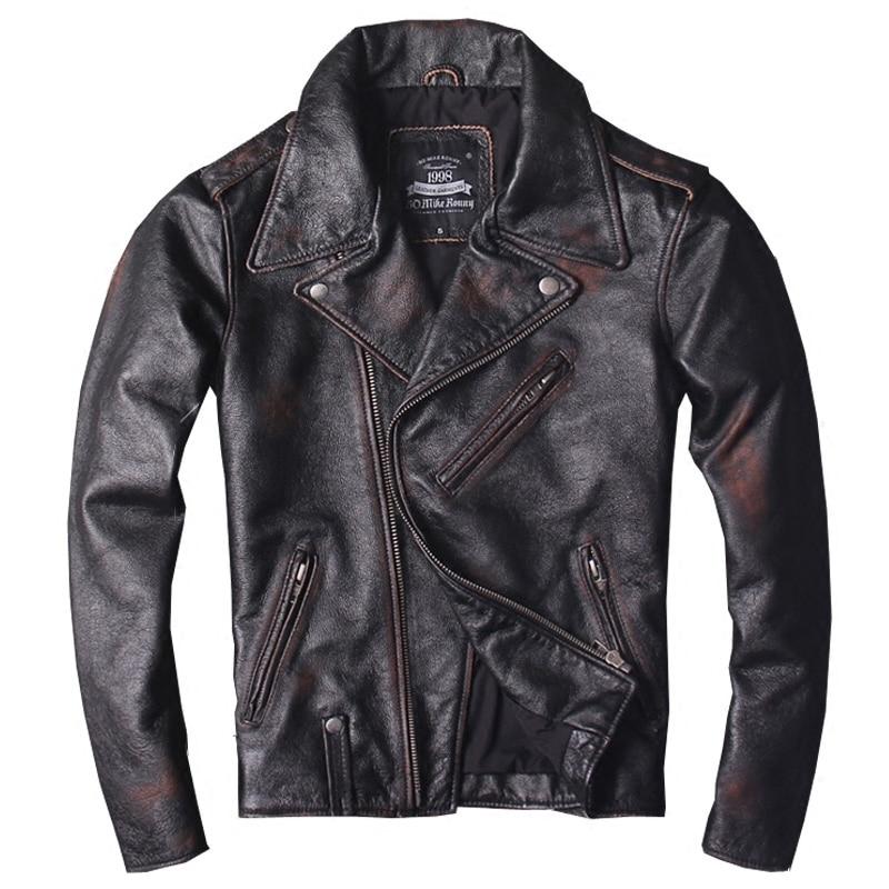 2018 Vintage Black Men Slim Fit Bikers Leather Jacket Diagonal Zipper Genuine Cowhide Russian Short Leather Coat FREE SHIPPING