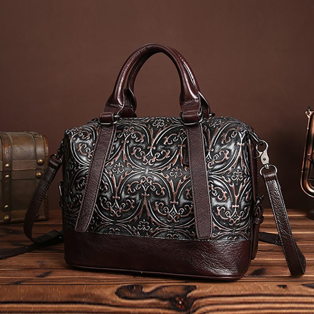 Fashion Women Genuine Embossed Leather Handbag Vintage Trend Casual Female Crossbody Messenger Shoulder Bag Las Tote