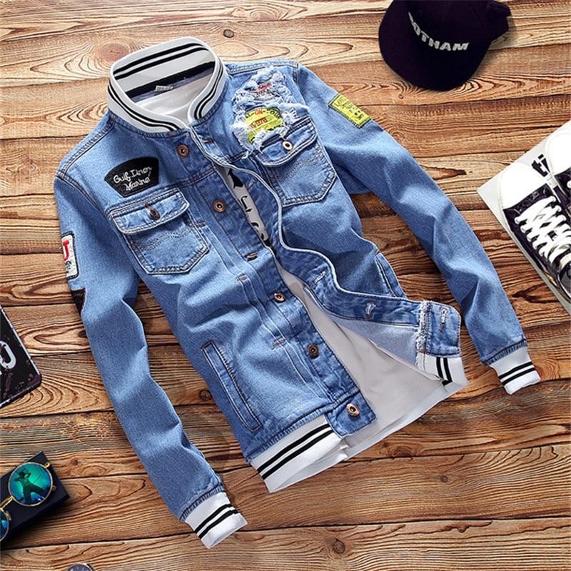 2019 NEW Spring Autumn Pilot Jacket Denim Mens Casual Fashion Man Bomber Baseball Jackets Men embroidery Jean