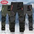 LUTU Winter Fleece hiking pants men Autumn Softshell pants outdoor trousers women waterproof thremal mountain trekking ski pant