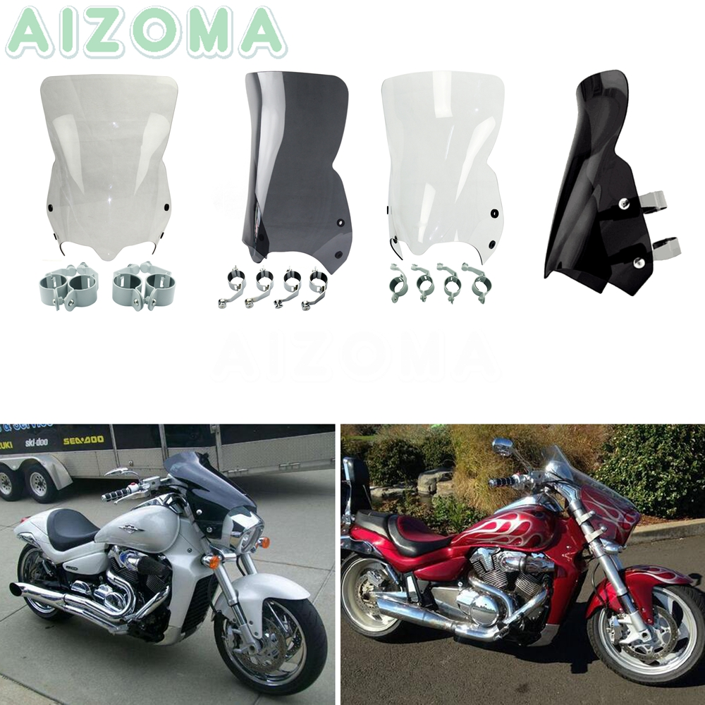 Motorcycle Windshield Wind Deflector w Clips For Suzuki Boulevard M109R Boss M50 M90 M109R M109R2 M109RZ