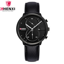 2017 Hombres Únicos Reloj Único Con Estilo Negro Multifunción Cronógrafo Reloj Hombre Vestido de Regalo Antiguo Reloj de Cuarzo Ocasional