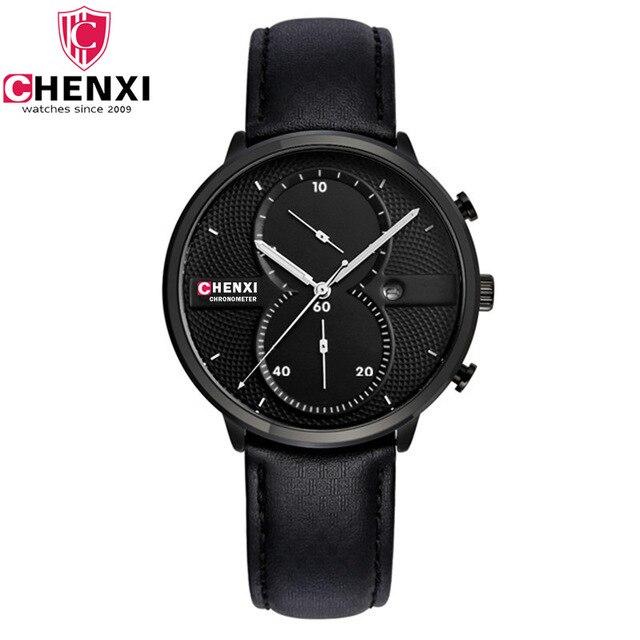 2017 Unique Men Watch Unique Stylish Black Multi Function Chronograph Casual Quartz Wristwatch Male Dress Antique Gift Clock