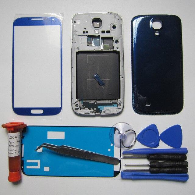 S4 Полный Дело Жилья Для Samsung Galaxy S IV i9500 Передняя Рама и ближний рамка и Задняя Крышка и Внешний Стекло и пинцет и Инструментов и УФ клея