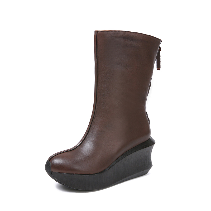 235e3788356 US $107.1 49% OFF Half Wedge Boots Women Shoes 2018 Autumn Handmade Ladies  Boots Natural Leather Vintage Round Toe Soft Women's Heel Shoes -in ...