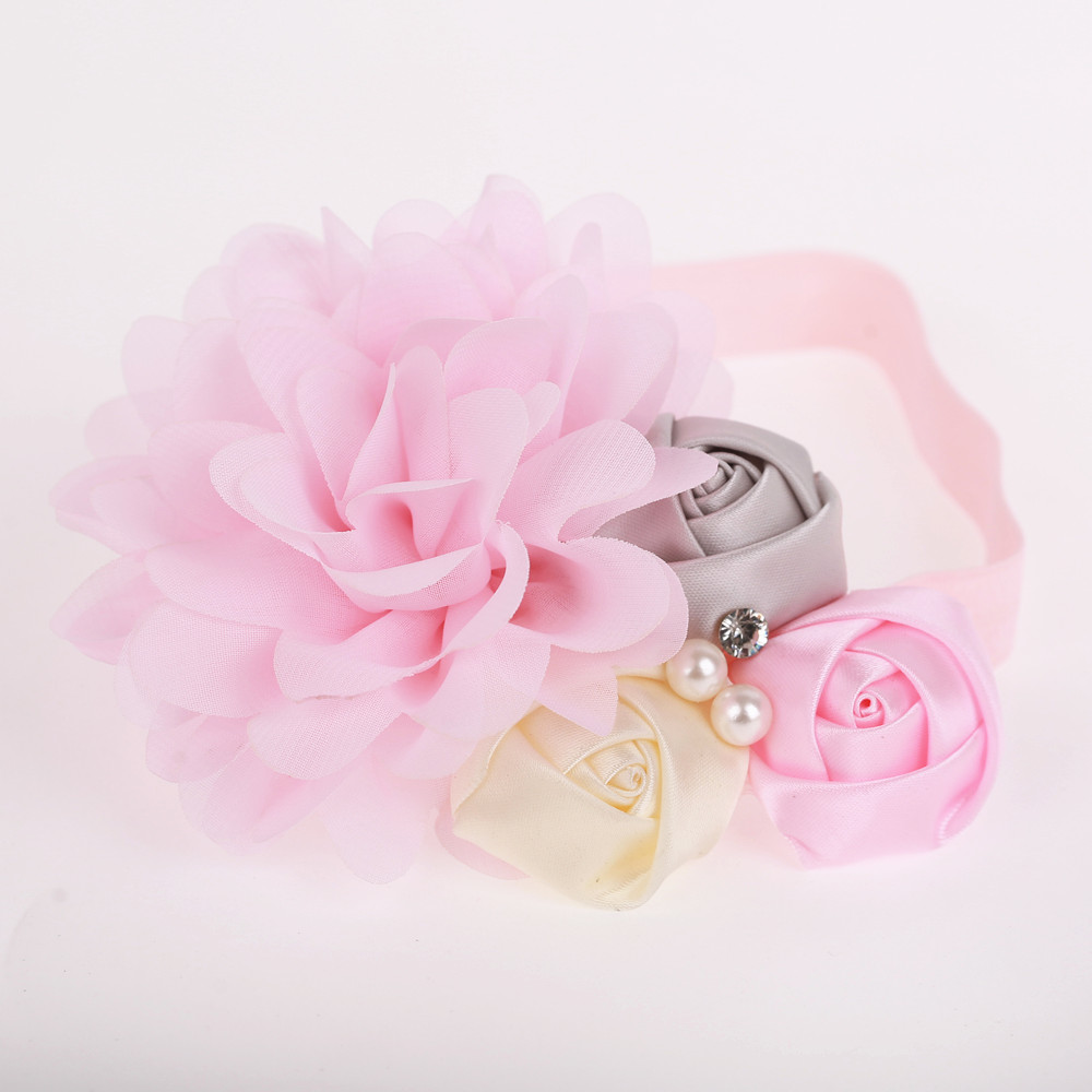 baby newborn infant headband rose hair band Chiffon flower FOE elastic headbands children girls hair accessories newborn photography props child headband baby hair accessory baby hair accessory female child hair bands infant accessories