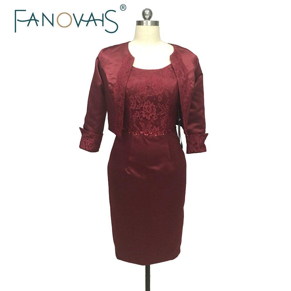 Бордовое кружевное платье для матери невесты, атласное платье для матери жениха с жакетом, расшитое блестками, короткое платье для матери, в...