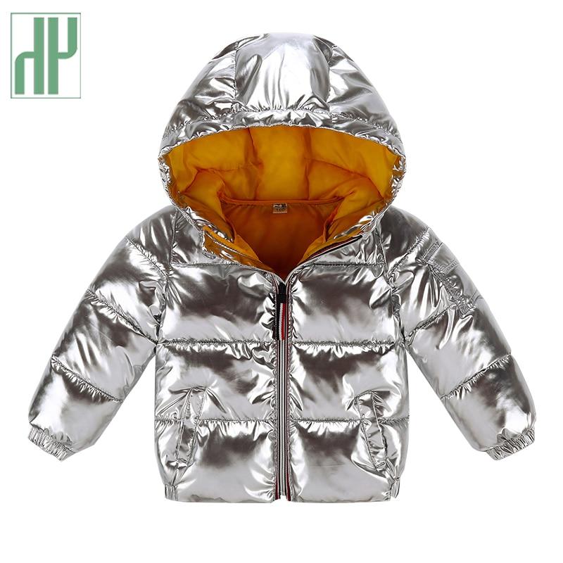 HH Winter Jacket Kids Autumn Girls Parka Black Gold Silver Down Jacket For Boy Hooded Jacket Snowsuit Children's Clothing