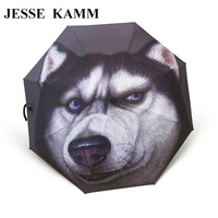 JESSE KAMM Drop shopping Animal Bear Shapi Dog Pet Computer Print Fully Automatic Creative Compact Fashion Rain Sun Umbrellas