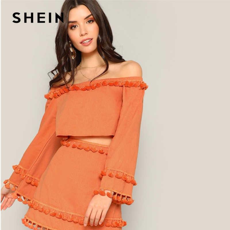 1d8855531 SHEIN Women Orange Off Shoulder Tassel Detail Plain Two Piece Set Top and  Bottoms Set Spring