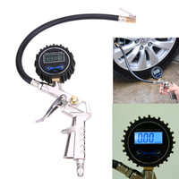 Air Tire Inflator 220PSI 1/4 NPT Silver + Black With Pressure Gauge Air Inlet Pistol Grip Trigger Self lock for Motorcycle Car