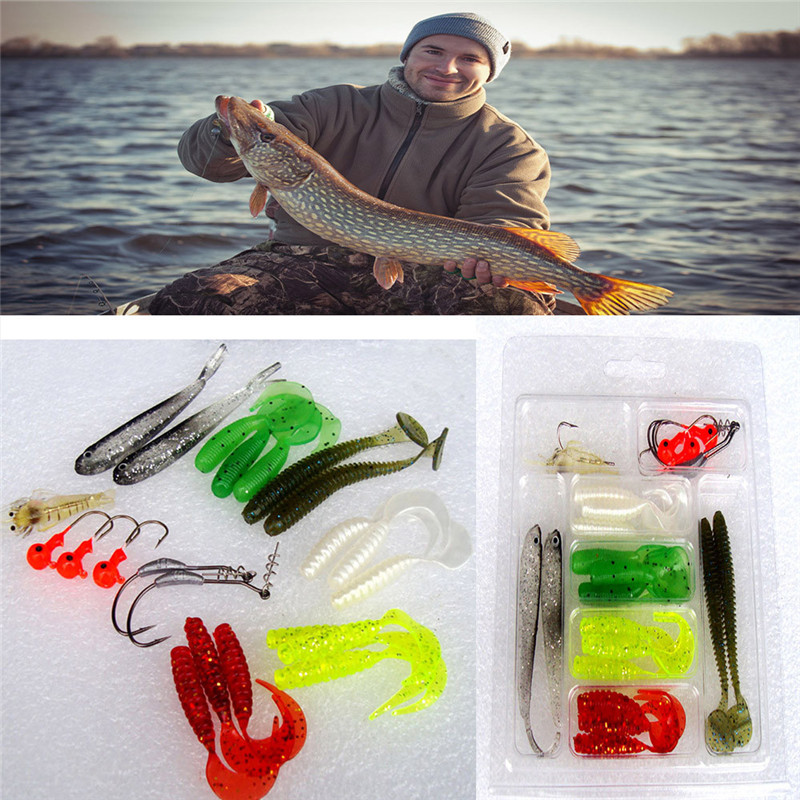 22Pcs Fishing lure in Bait Soft Baits Pesca Soft Worm Lure Set Head Jig Hooks Fishing Gear Baits Set Tackle For Fishing