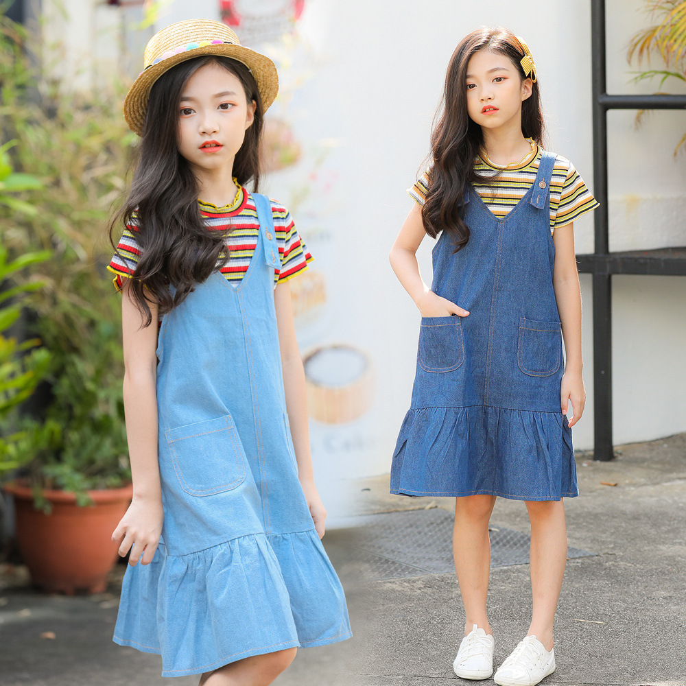 2019 Summer Denim Sundress Girls Teens 8 9 10 11 12 13 14 Years Old Kids.  US  32.68. Autumn Spring Girl Cotton Black Dress Cute Fashion ... 489a0d4fbbb5