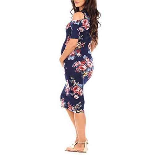 e5fb457ab99c9 Pregnant Women's Long Floral Dress Photography Prop off shoulder short  sleeve loose casual dress Maternity Dress