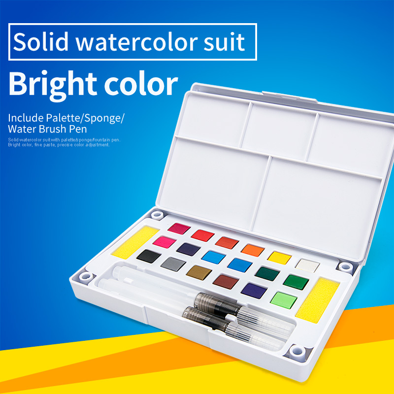 Bianyo 12/18/24/36Color Solid Watercolor Paints Set for Drawing Pigment Water Color With Water Brush Painting Set Art Supplies цены
