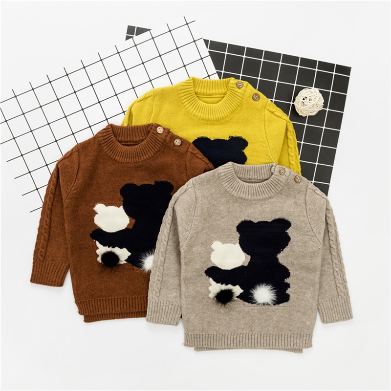 WYNNE GADIS Autumn Winter Infant Baby Cartoon Bear Long Sleeve O Neck Knitwear Sweater Boys Casual Pullover Jumper Kids Clothes