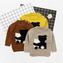 WYNNE GADIS Autumn Winter Infant Baby Cartoon Bear Long Sleeve O Neck Knitwear Sweater Boys Casual Pullover Jumper Kids Clothes