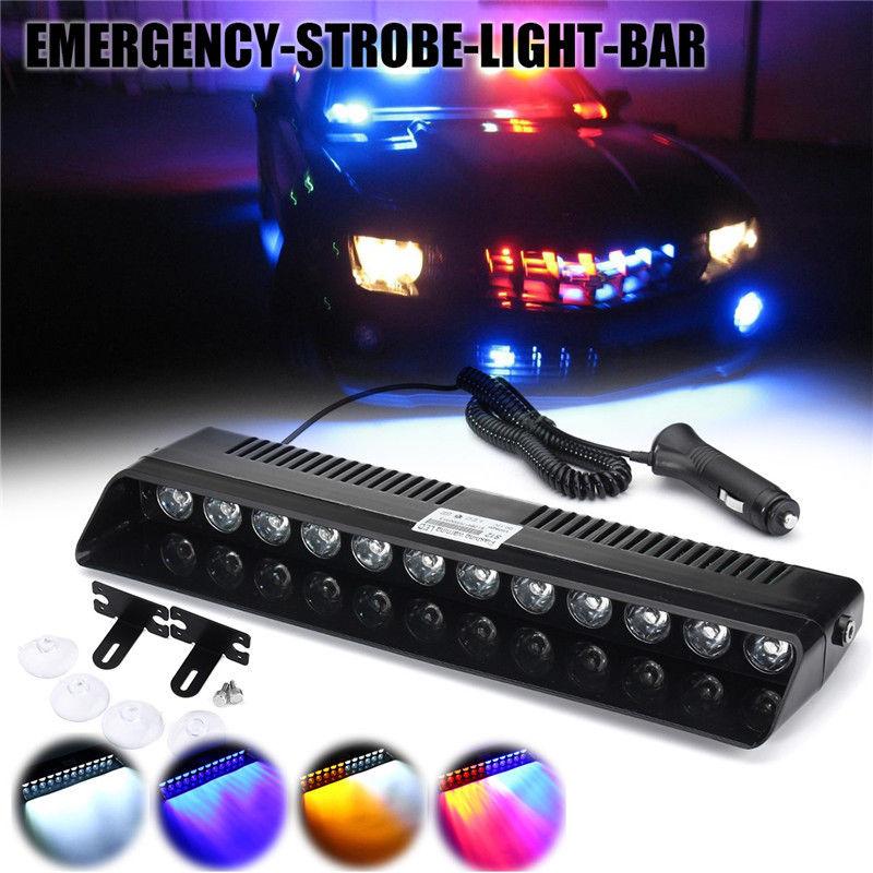 CYAN SOIL BAY 12 LED Car Emergency Strobe Light Bar Police Warning Flash Visor Deck Dash Lamp Windshield White Amber Red Blue
