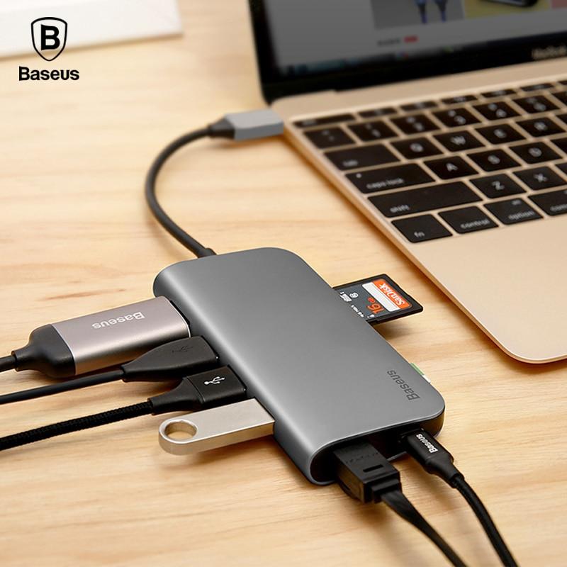 Baseus USB C HUB 8 in 1 USB-C HUB ar tipa c līdz multi USB 3.0 HDMI RJ45 Ethernet tīkla Micro SD TF karšu lasītājs OTG C tipa HUB
