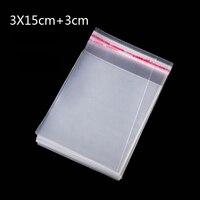 600Pcs 3 X 15 Cm Promotion Price Transparent Cello Bag Clear Resealable Cello Plastic Envelope Small