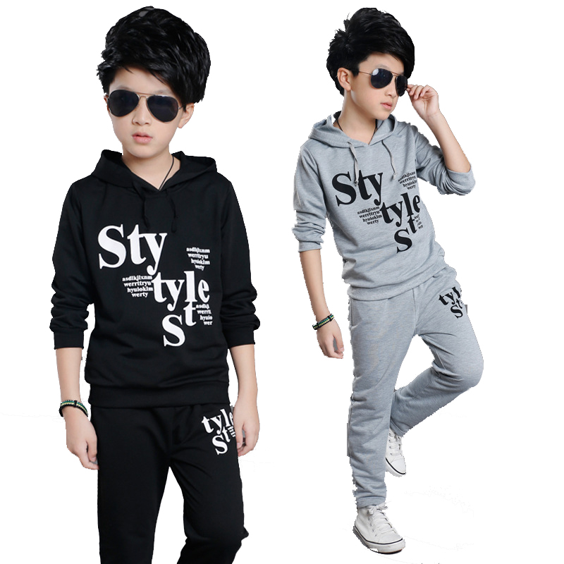 Boy Tracksuits Spring & Autumn Kids Outfits Boys Sports Suits Cotton Hooded Letter Clothing Sets For Boys For 4 6 8 10 12 14 Y