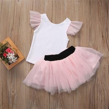 2019 Lovely Short Sleeve T-shirt  TuTu Skirt 2pcs Mother Daughter Dresses Cotton Summer Clothes Family Kids Parent Child Outfits 2