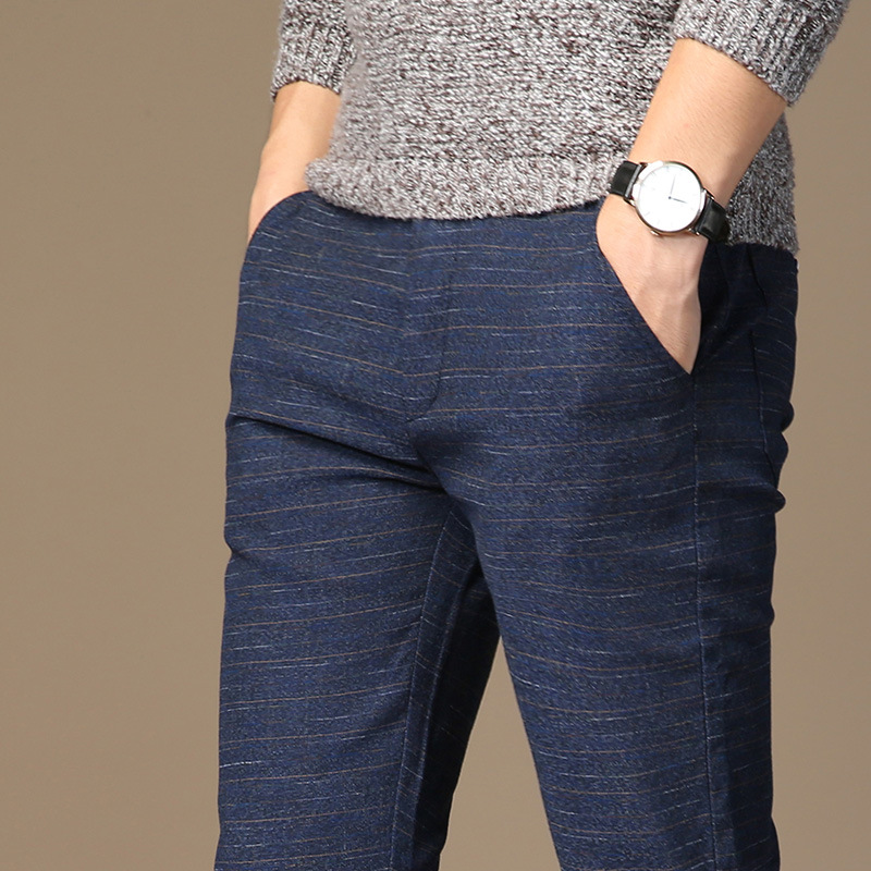 MRMT 2020 Brand Mens Spring And Summer Casual Pants Men Striped Micro Elastic Straight Trousers