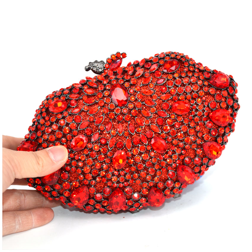 Haute En D'épaule Robe Mariée Chaînes Diamant Femmes La Sac À Soirée Embrayages Main Sacs Société Rouge Cristal Strass Mariage De 0xEqp