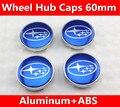 4x BLUE STAR 60mm del centro de rueda tapacubos cubierta del coche del cromo insignias ABS para Forester Impreza XV Legado STI