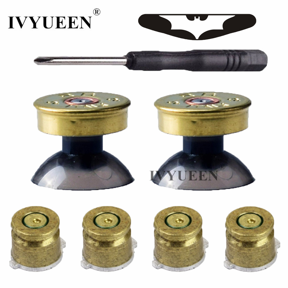 IVYUEEN Bullet Button Brass Kit Mod Untuk PlayStation 4 PS4 DS4 Pro Slim Pengawal Analog Thumbsticks Sticks dengan Button Wajah