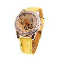 1PC Watch New Butterfly Diamond Watch Gold Dial Leather Band Quartz Wrist Watch reloj hombre Drop Shipping Aug-28