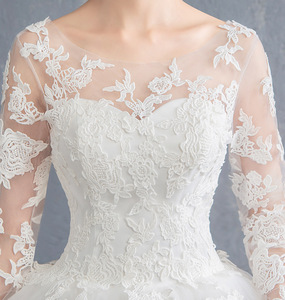 Image 4 - Cheap Wedding Dress 2020 New Mrs Win Full Sleeve Classic Embroidery Lace Up Ball Gown Princess Wedding Dresses Robe De Mariee F