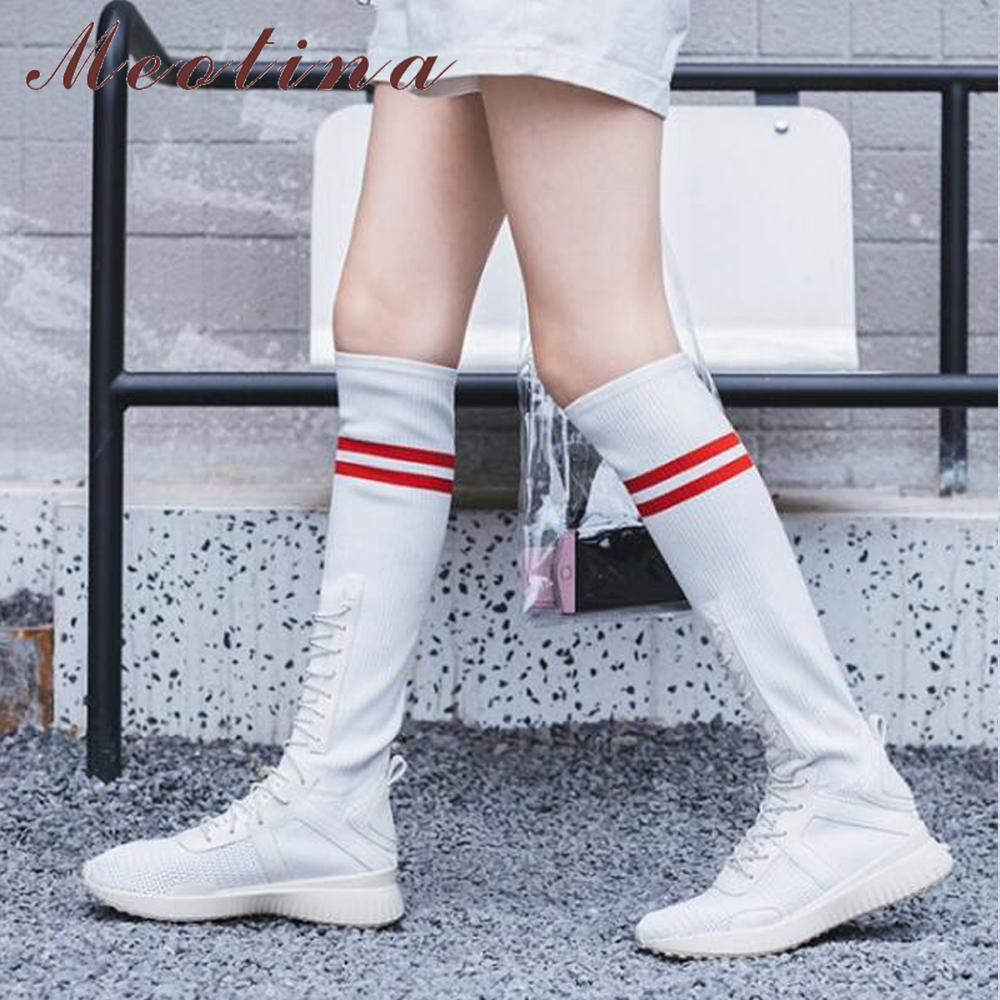 37f59e498ccd Meotian Knee High Boots Sock Boots Women Winter Stripe Lace Up Tall Boots  Causal Ladies Sneakers Flat Platform Shoes White Black-in Knee-High Boots  from ...