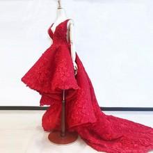 ที่สวยงามชุดราตรี Appliques abiye อย่างเป็นทางการ Gowns Vestido Longo Appliques Hi Low สีแดง robe de soiree