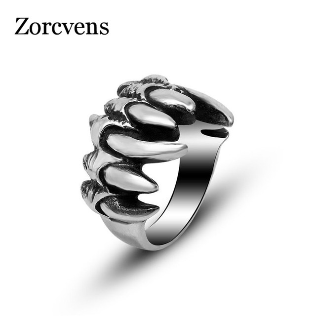 ZORCVENS Punk Rock Stainless Steel Mens Biker Rings Vintage Gothic