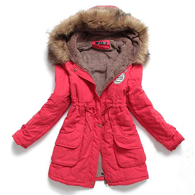 Autumn Winter Jacket Women Parka Warm Jackets Fur Collar Coats Female Long Parkas Hoodies Office Lady Cotton Plus Size 2