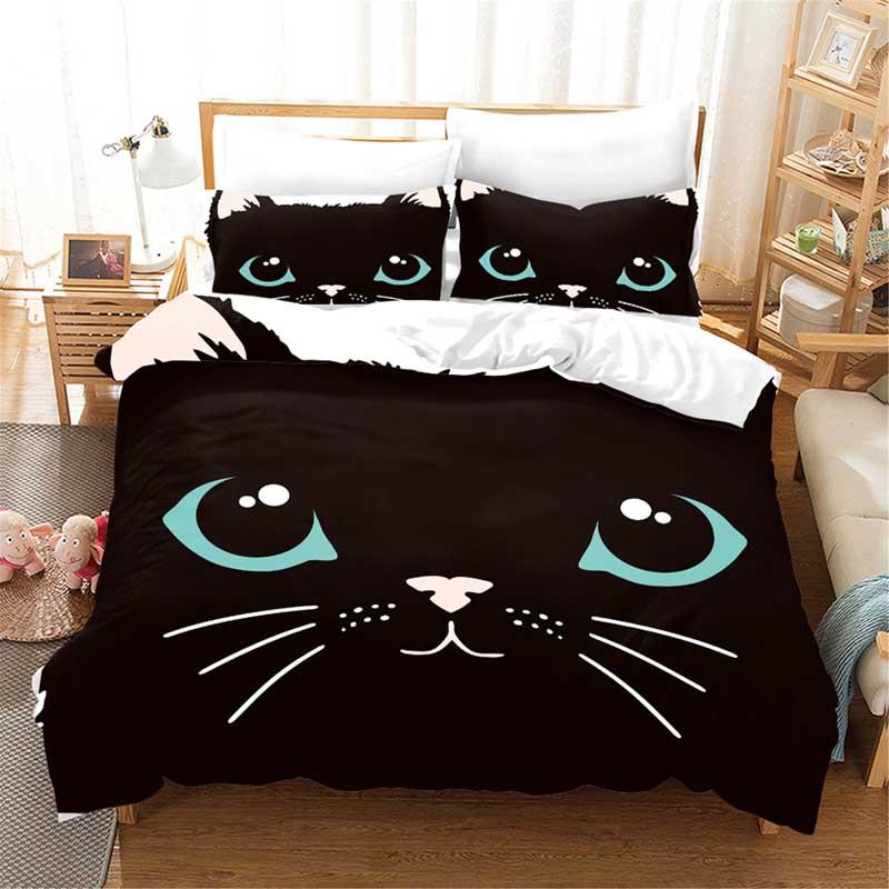 Cat eyes 3D bedding set Duvet Covers Pillowcases comforter bedding sets bedclothes bed linen Animal cat eye bedding queen King in Bedding Sets from Home Garden