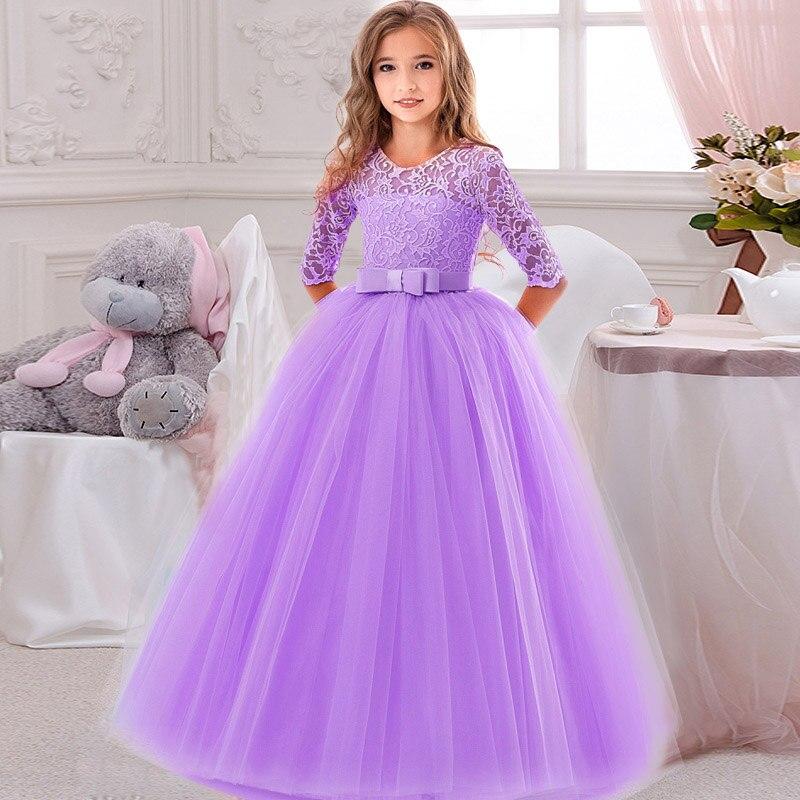 Кружевное платье с длинными рукавами для девочек, держащих букет невесты на свадьбе, на день рождения, банкет Элегантное Длинное белое кружевное платье с бабочкой для девочек - Цвет: purple
