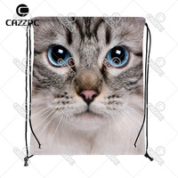 Big Cute Cat animal Face Print Custom individual Nylon Fabric Drawstring Shoes Storage Dust Bag Pack of 4
