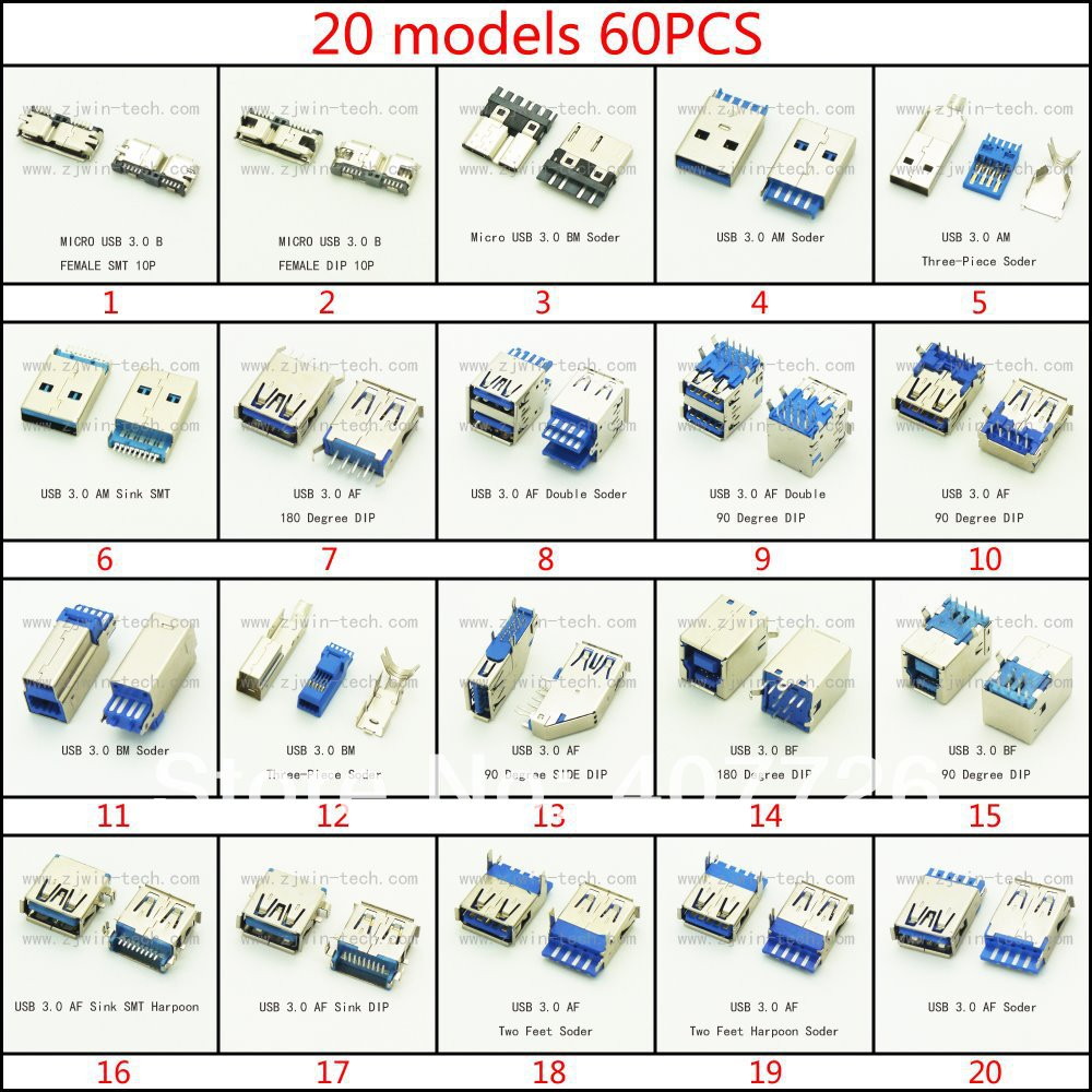 60pcs lot Micro font b USB b font 3 0 connector font b female b font wonderful micro usb to db9 wiring diagram ideas best image wire