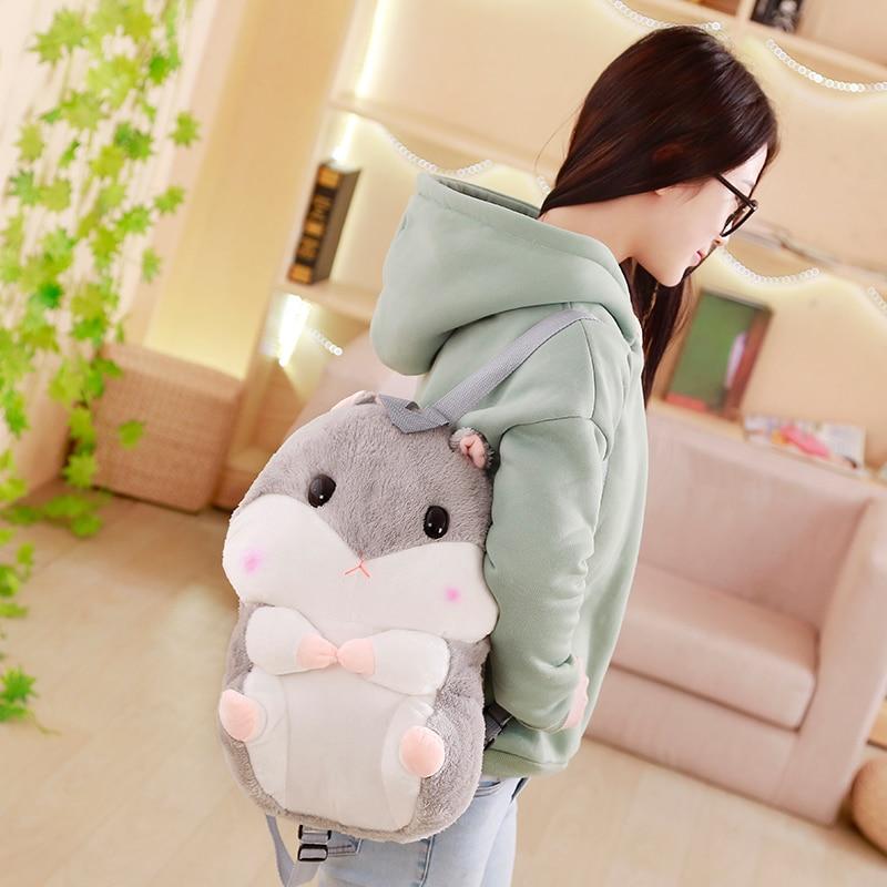 Japanese Hamster Plush Backpack Cute Plush Hamster Hand Warm Kids Plush Baby Toy Boys School Bag Gift For Little Girl Friends