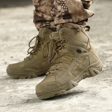 2018 New Trend Men Army Military Boots Beige Brown Male Tactical Wearable Security Anti-Slip Casual
