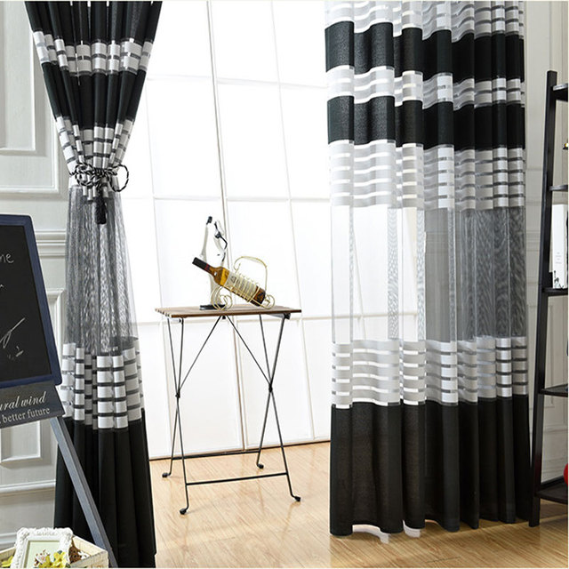 Luoshanna New Modern White Black Warp Knitted Screen Striped Curtain Waveform Can Be Customized For Living Room Bedroom Windows