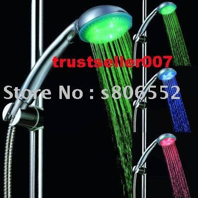 Free Shipping super bright 3 Color Automatic Change LED Bathroom Shower No battery,self-powered led shower head T039
