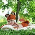 WENDYWU 2017 newborn photography props wool suit hand knitted baby girl clothes baby pictures fox Costume