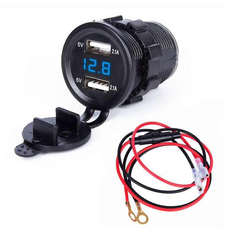 moto camion Doppia presa USB per auto 5V 4.8A Voltmetro digitale a colori Caricabatteria da auto 12V con interruttore ON//OFF per auto yacht